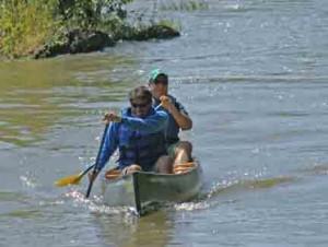 canoe in quiet water
