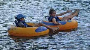 2 girls tubing