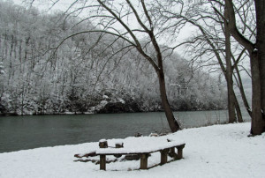 River and Snow at cabins