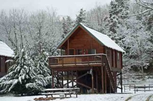 Sinker cabin in snow