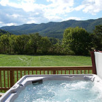 View of mountains from hot tub