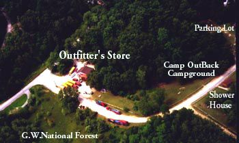 Aerial of Shenandoah River Outfitters
