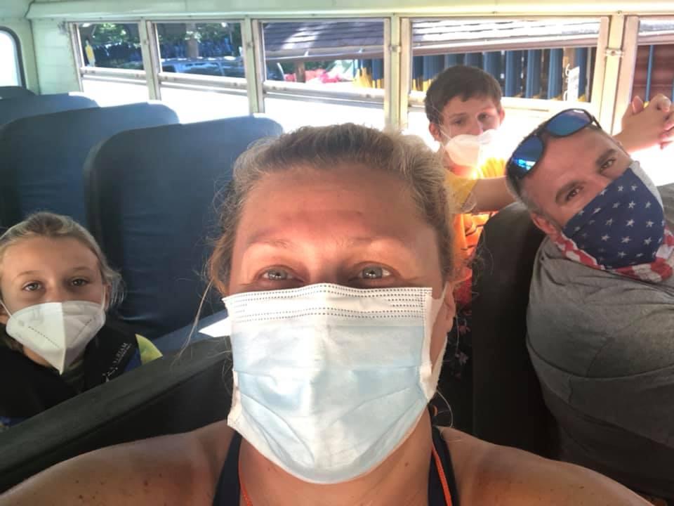 Masks on bus